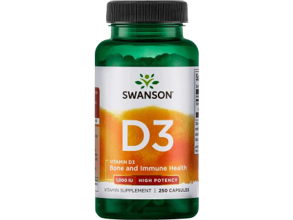 Swanson Vitamín D3 1000 IU, 250 kapslí