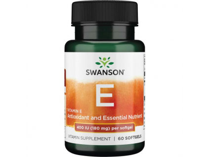Swanson Vitamin E, 400 IU, 60 Softgel kapslí