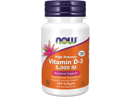 NOW FOODS Vitamin D3, 5000 IU, 240 softgel kapslí