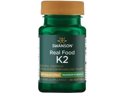 Swanson Vitamin K2, Natural MK 7, 200 μg, 30 softgelových kapslí