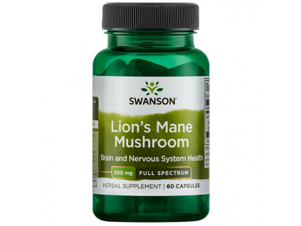Swanson Full Spectrum Lion's Mane Mushroom (Korálovec ježatý) 500 mg 60 kapslí