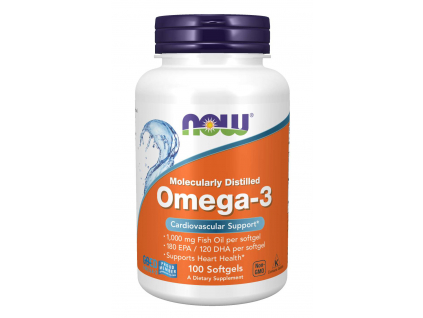 NOW FOODS Omega 3, 1000 mg, 100 softgel kapslí
