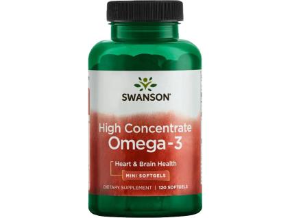 Swanson High Concentrate Omega 3, 120 Mini softgel kapslí