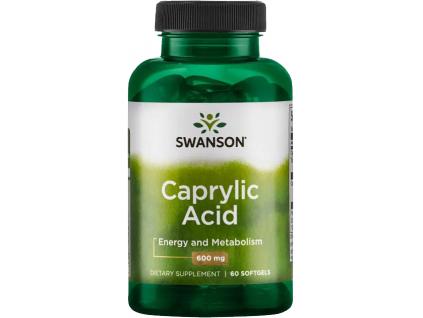Swanson Caprylic Acid, Kyselina kaprylová, 600 mg, 60 softgel kapslí