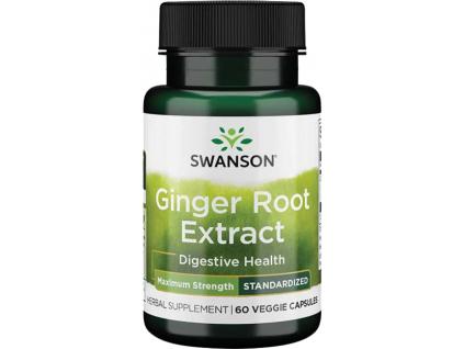 Swanson Ginger Root Extract, Maximum Strength, 200 mg, 60 rostlinných kapslí