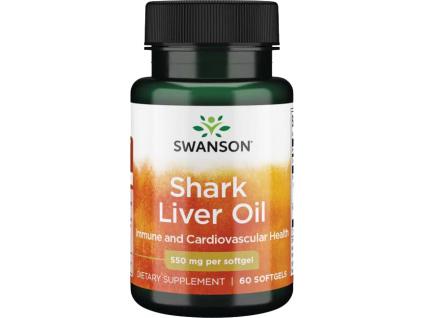 Swanson Shark Liver Oil, 550 mg, 60 softgel kapslí
