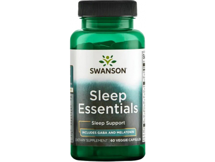 Swanson Sleep Essentials, obsahuje Melatonin a GABA, 60 rostlinných kapslí