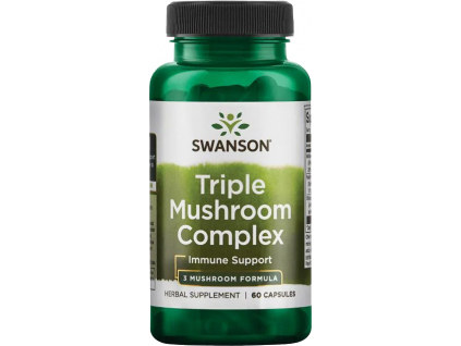 Swanson Triple Mushroom Complex, Komplex tří extraktů z hub, 60 kapslí