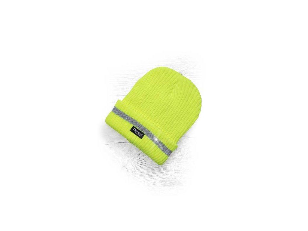 Zimní čepice pletená + fleece hi-viz SPARK oranžová