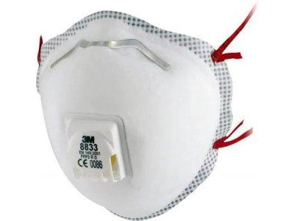 8833, 3M™ Filtrační polomaska P3, s ventilkem NA OBJEDNÁVKU