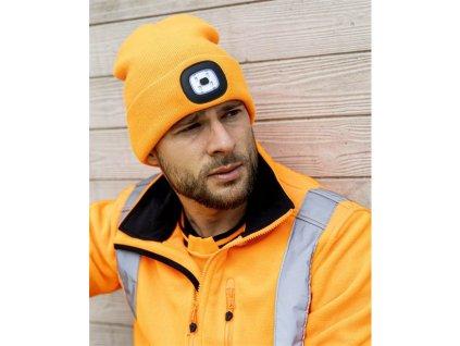 Zimní čepice BOAST s LED svítilnou, oranžová hi-vis