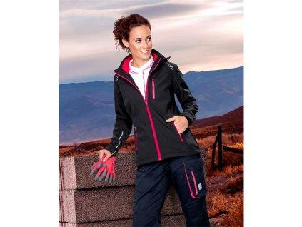 Dámská softshellová bunda ARDON®FLORET černá s růžovými zipy