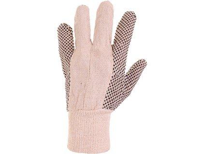 Textilní rukavice CXS GABO, s PVC terčíky, bílé, vel. 10