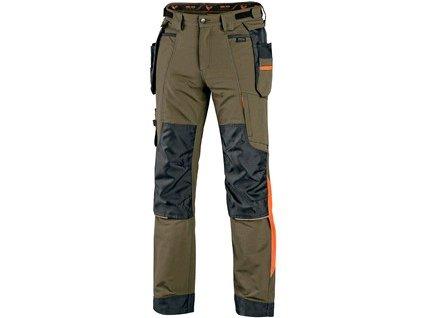 Kalhoty CXS NAOS pánské, zeleno-zelené, HV oranžové doplňky