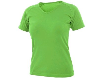 Tričko CXS ELLA, dámské, výstřih do V, krátký rukáv, zelené jablko