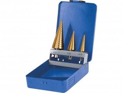 vrtáky stupňovité, sada 3ks, O 4-12/1mm, O 4-20/2mm, O 4-32/2mm