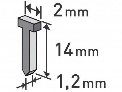hřebíky, balení 1000ks, 14mm, 2,0x0,52x1,2mm