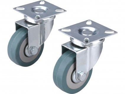 kolečka otočná s obručí ze šedé pryže, sada 2ks, průměr 50mm