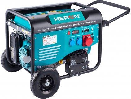 elektrocentrála benzínová 15HP/6,8kW/8,5kVA (400V), 5,5kW (230V), elektrický start, podvozek