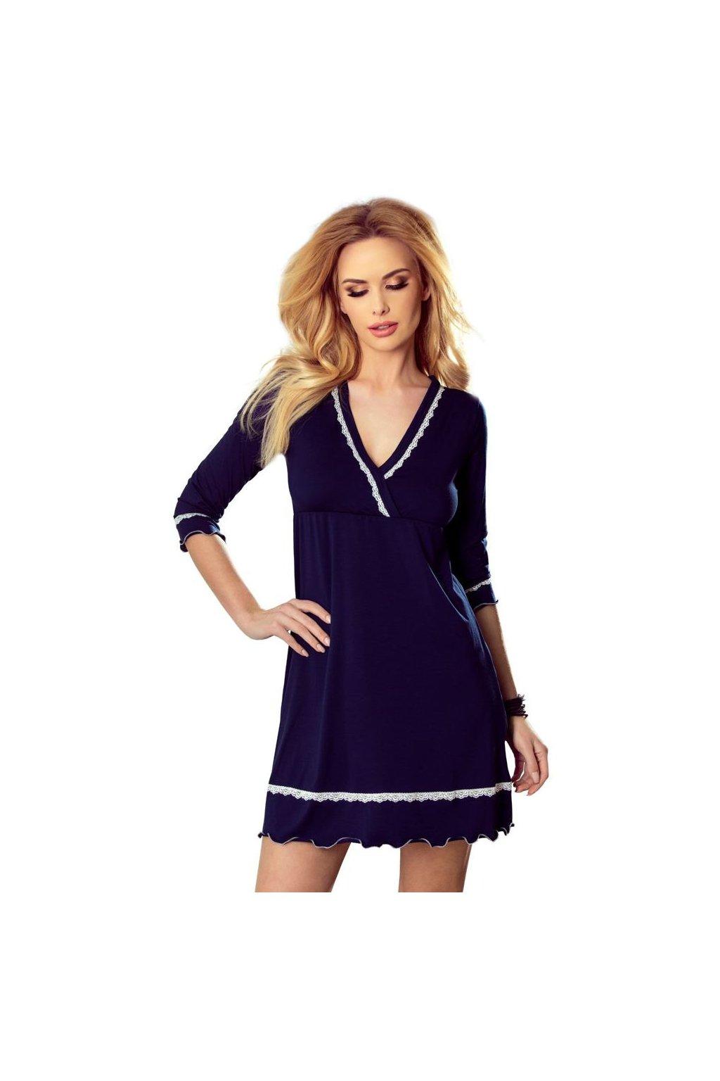 Luxusní noční košilka Lea tmavě modrá