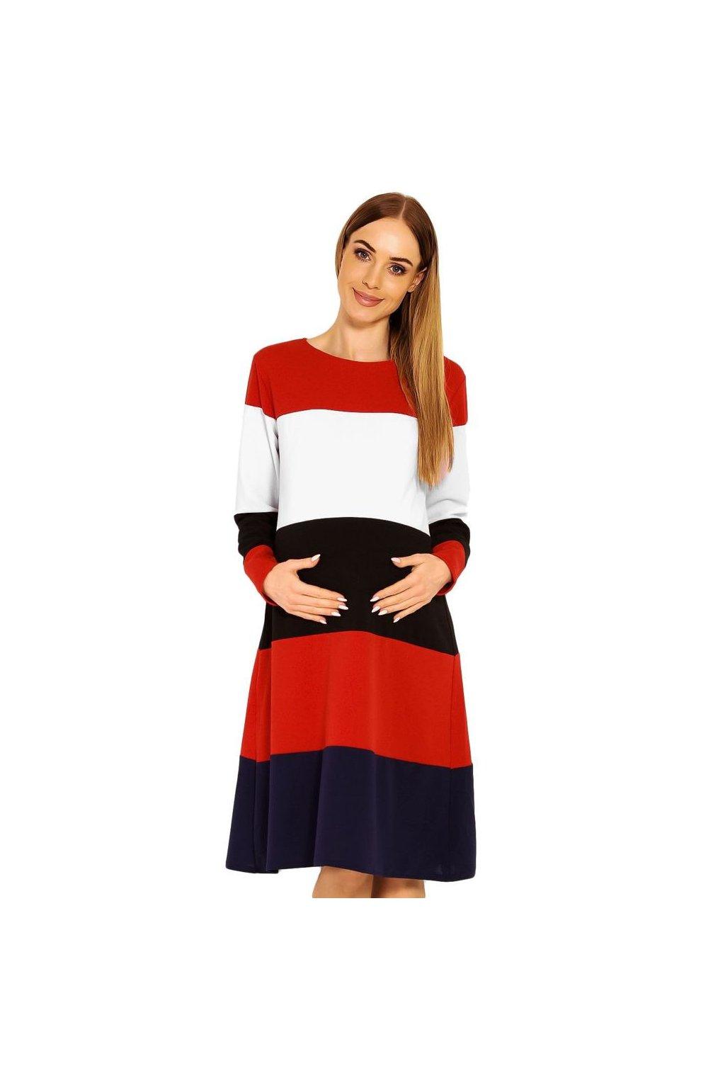 Těhotenské šaty Mary s pruhy