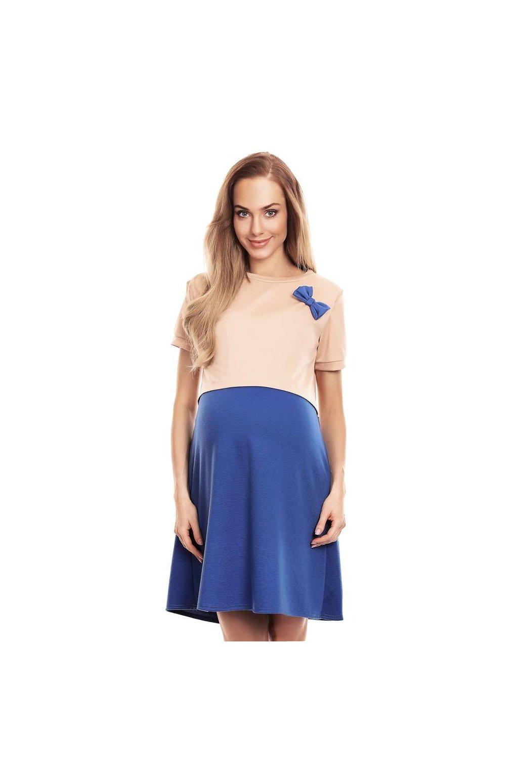 Těhotenské a kojicí šaty Lydie  béžovomodré