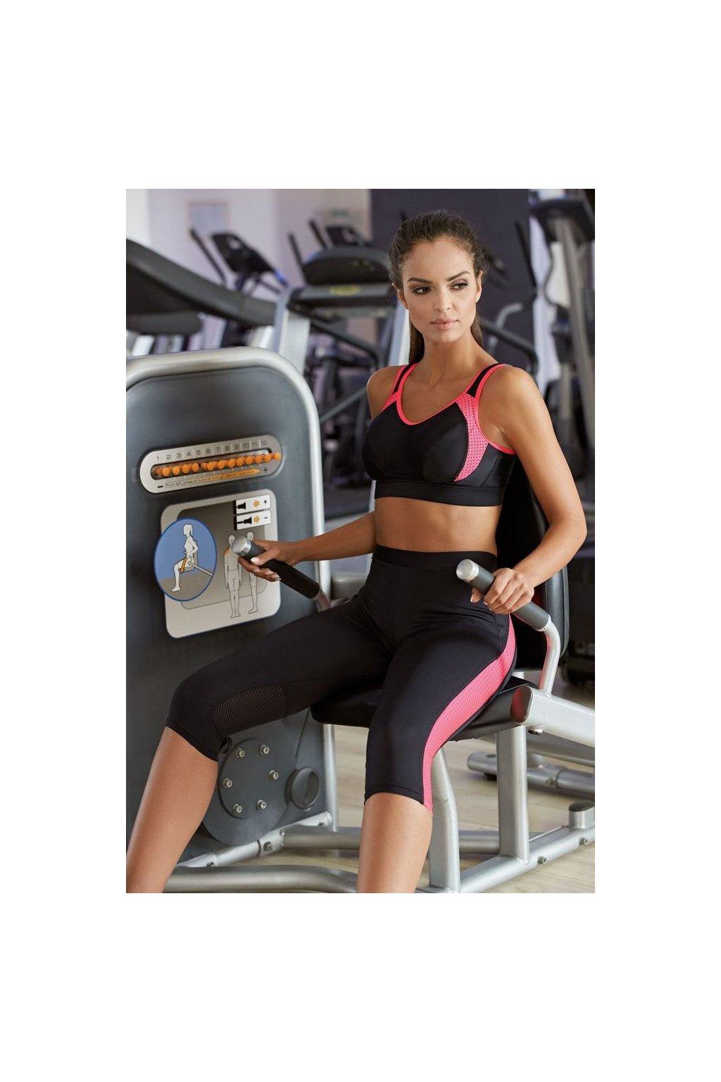 Dámské 3/4 fitness legíny Terry růžové pruhy
