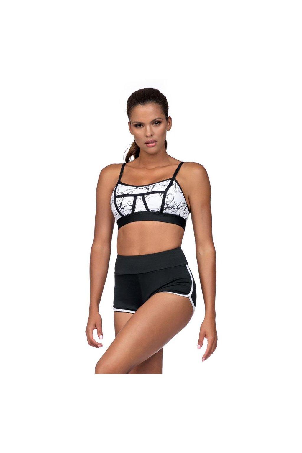 Fitness šortky Amy černé bílý lem