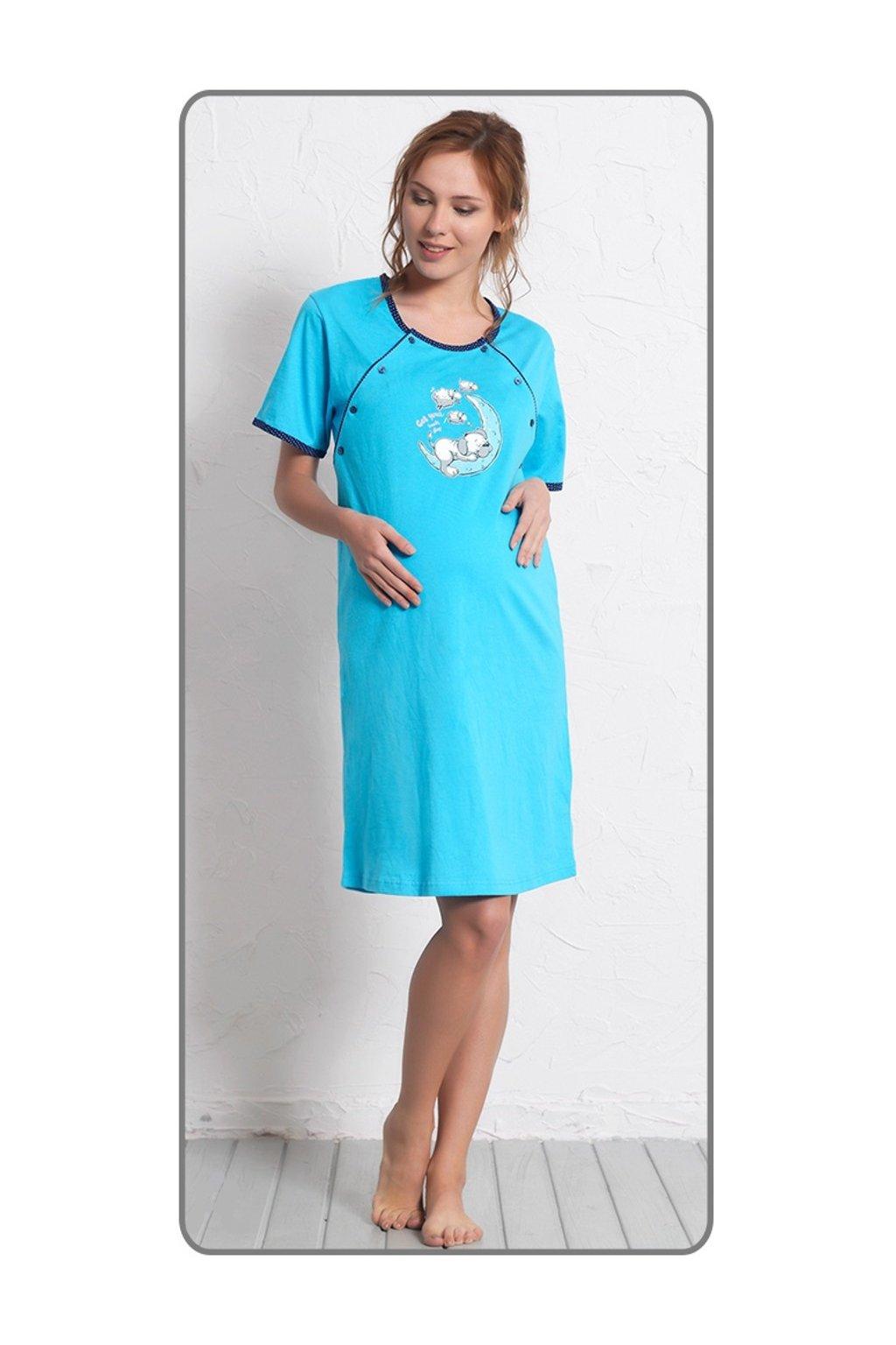 Dámská noční košile mateřská s krátkým rukávem Štěně na měsíci