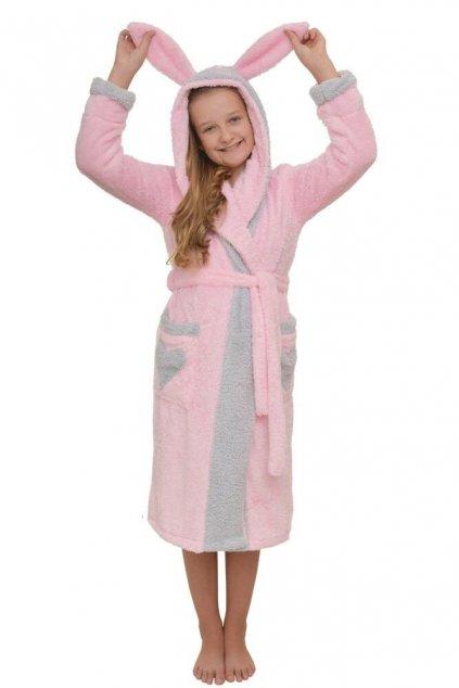 Dívčí župan Emma světle růžový s ušima