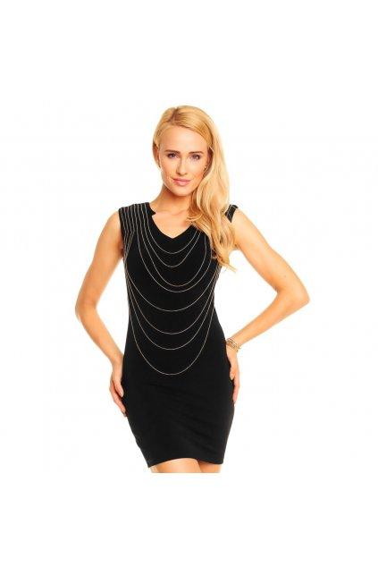 KIMI Luxusní dámské společenské šaty zdobené řetízky černé - Černá - Kimi&Co