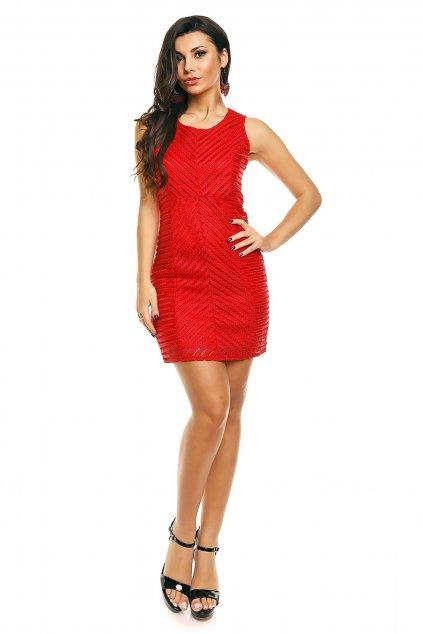Dámské značkové šaty moderní AIKHA krátké červené - Červená - Aikha