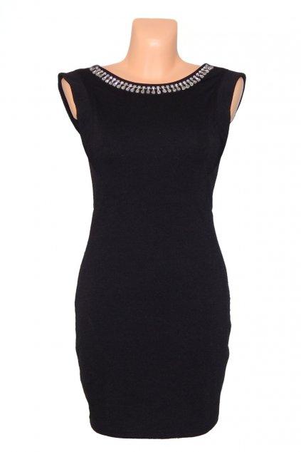 Společenské šaty zdobené kameny ve výstřihu bez rukávu krátké černé - Černá - CoCo Giulia