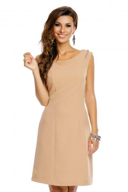 Společenské šaty značkové moderní střih s ozdobnými zipy na ramenou béžové - Béžová - J&J