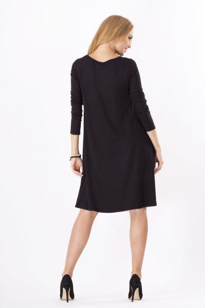 Dámské šaty volný střih 3/4 rukáv vhodné i pro těhotné středně dlouhé grafitové - Černá - BeYou