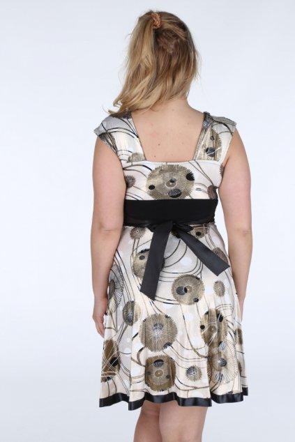 Dámské šaty pro plnoštíhlé se zlatými detaily a s volnou sukní - Béžová - Efect