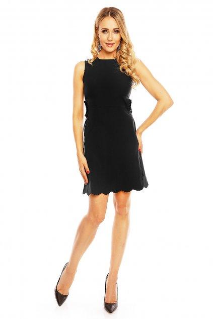 Dámské šaty bez rukávu s průstřihy v pase středné dlouhé černé - Černá - Allyson