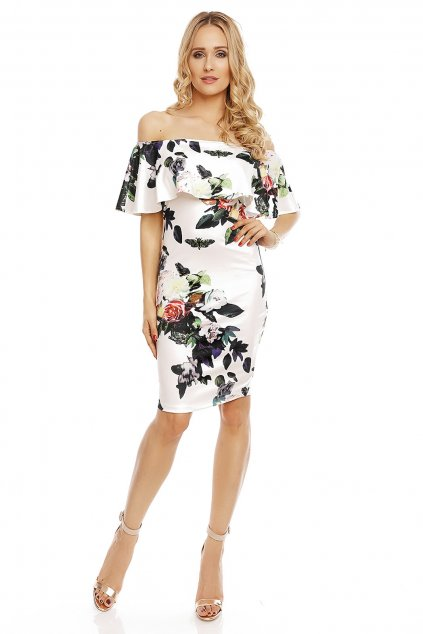 Společenské šaty květinové s volánem středně dlouhé bílé - Bílá - Beauty Fashion