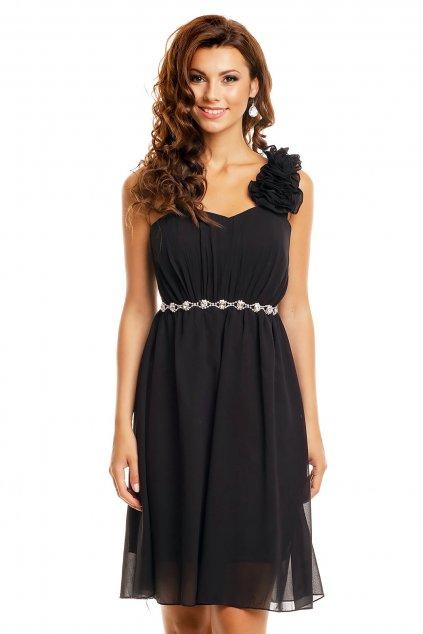 Dámské společenské šaty na jedno rameno černé - Černá - Emma Dore