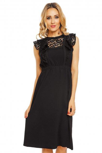 Dámské šaty s krajkovým rukávem středně dlouhé černé - Černá - Elli White