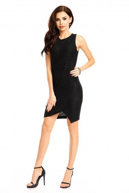 Společenské dámské šaty bez rukávů středně dlouhé černé - Černá - LOVIE