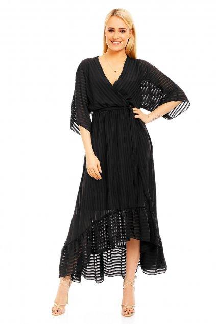 Lehké dámské šaty s asymetrickou sukní černé - Černá - LULU&LOVE