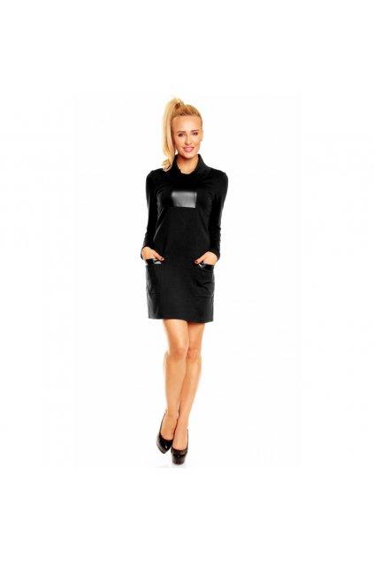 Dámské luxusní společenské a casual šaty zdobené doplňky z eko-kůže černé - Černá / L - Lental