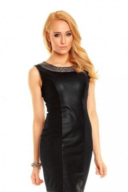 Společenské šaty EMILIE bohatě zdobené okolo výstřihu černé - Černá / XS - Best Emilie Fashion