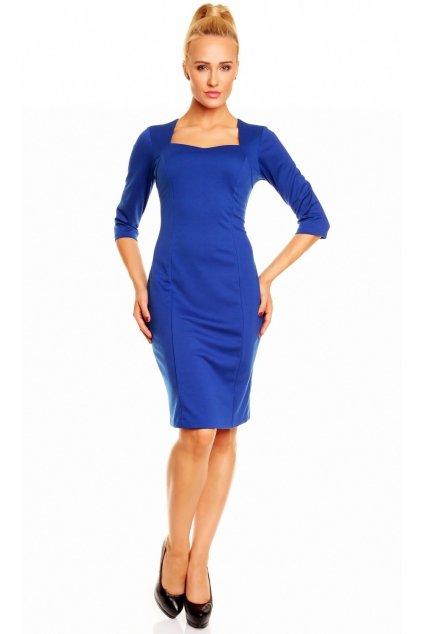 Společenské a casual šaty DIANA středně dlouhé modré - Modrá / M/L - Lental