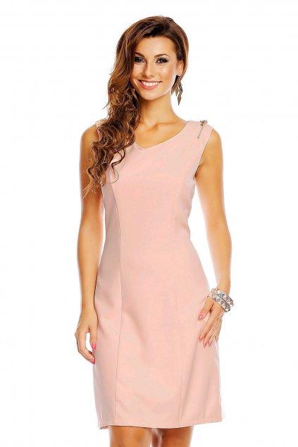 Společenské šaty značkové moderní střih s ozdobnými zipy na ramenou růžové - Růžová / XL - J&J