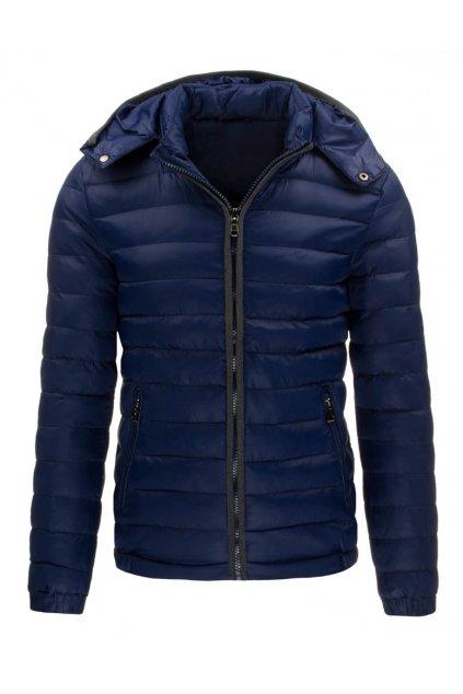 Pánská přechodová prošívaná bunda tmavě modrá - Tmavě modrá / L - DSTREET