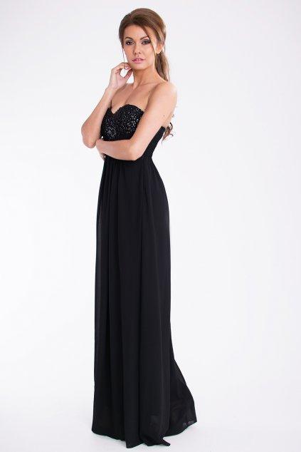 Dámské dlouhé společenské plesové šaty BOOM černé - Černá / M - PINK BOOM