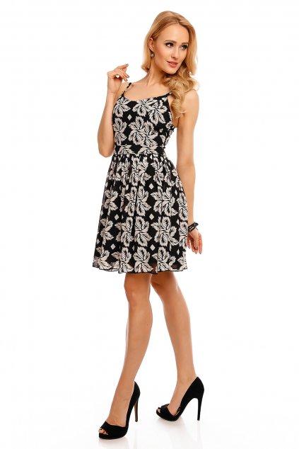 Dámské šaty na léto na párty a do společnosti na ramínka černé - Černá / L - DROLE DE COPINE