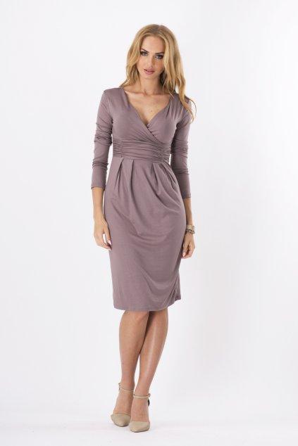 Dámské šaty značkové s 3/4 rukávem vhodné i pro těhotné capuccino - Hnědá / XL - BeYou
